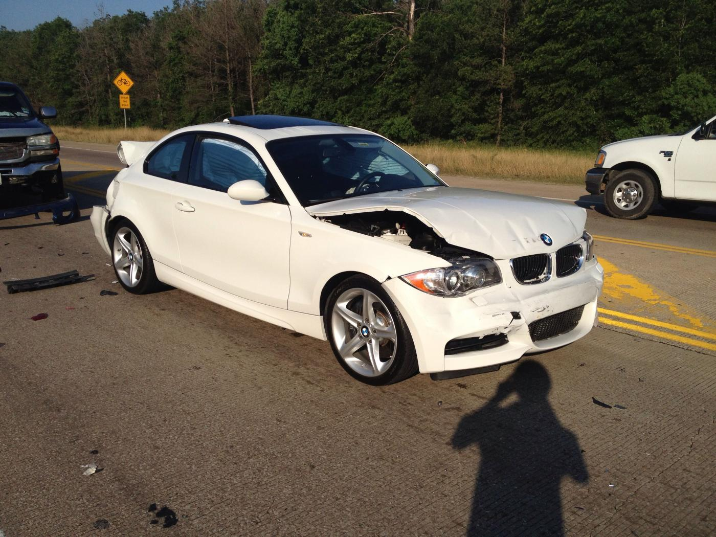 White Bmw Car Accident
