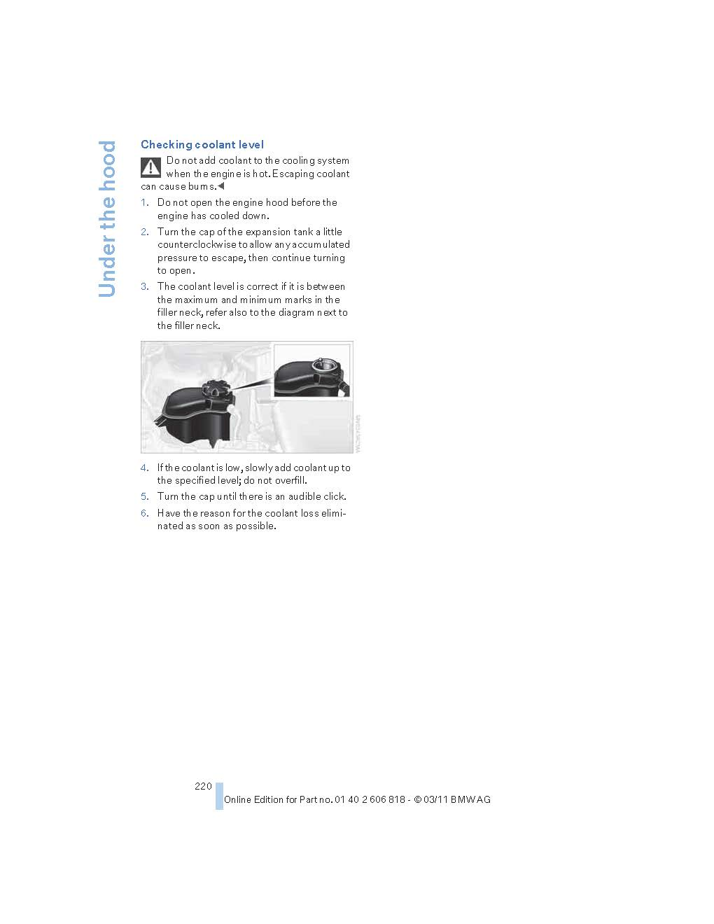 Engine Coolant Level Too Low Warning Bmw Light Name Manual 2 Views 43721 Size 657 Kb