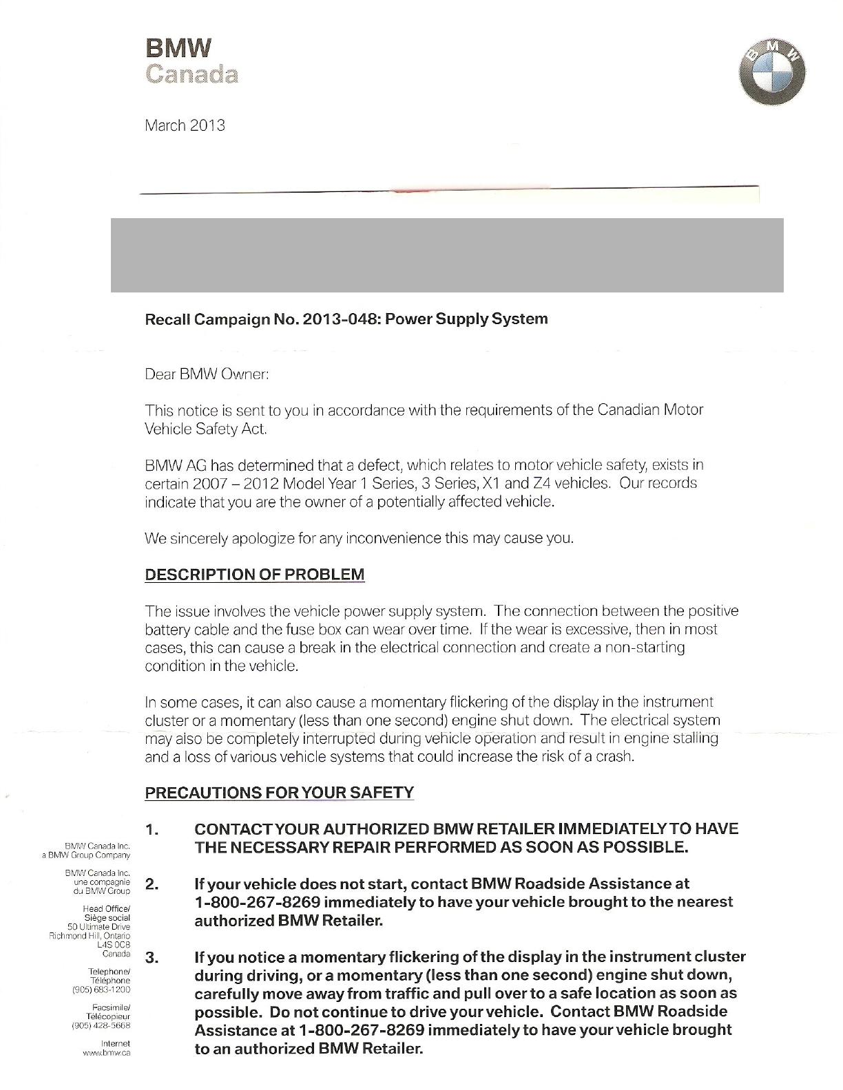 Bmw canada recall campaign no 2013 048power supply system attached images thecheapjerseys Gallery